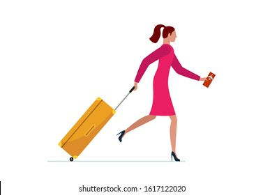 Young woman running with suitcase and flight ticket. Female in dress with luggage bag hurrying boarding to plane or missing flight. Tourist traveling concept vector illustration