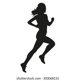Young woman running, vector silhouette