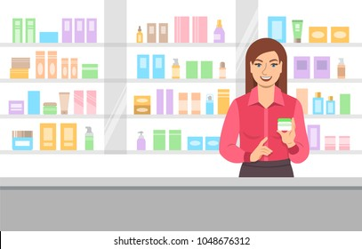 Young woman seller offering face cream at the counter of a beauty shop opposite shelves with skin care products. Cosmetic store vector cartoon background
