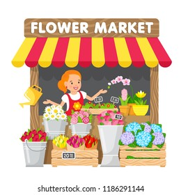The young woman sells flowers in her flower shop in the local market. Cute illustration in flat style.
