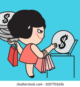 Young Woman Seriously Putting Coins Into Computer. Concept Of Going Mad At Shopping Online Card Character illustration