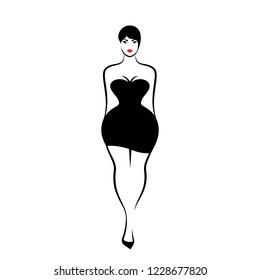 a young woman in sexy little black tight dress on white background. Vector illustration
