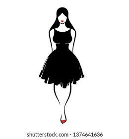 young woman in sexy little black fluffy dress on white background. Vector illustration