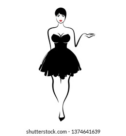 young woman in sexy little black fluffy dress with neckline on white background. Vector illustration