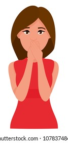 Young woman shocked and covers her mouth with her hands. Flat cartoon characters isolated on white background. Vector illustration.