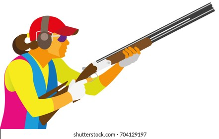 A young woman is a shooter by clay pigeon, which is preparing a shot