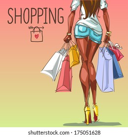 Young woman with shopping bags,  fashion background with space for text