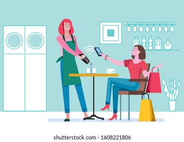 Young woman with shopping bags, sitting in a coffee shop paying contactless with mobile phone in cafe bar