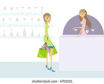Young woman shopping, glass store