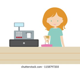 A young woman is shopping at a store and is paying with a gold payment card at an electronic cash desk. Holds a purse or shopping bag. Vector, flat design