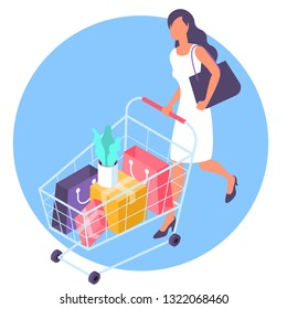 Young  woman at shopping with supermarket cart. Flat desin isometric vector illustration template concept.