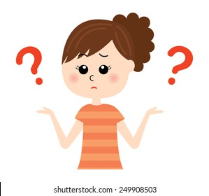 "A young woman shrugging with ""I don't know"" expression on her face, question marks,  vector illustration"