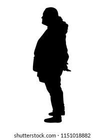 Young woman silhouette vector. Person concept.