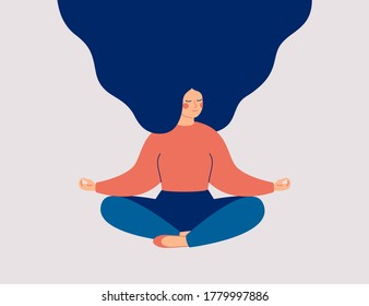 Young woman sits with cross-legged on the floor and meditates with closed eyes. Girl makes morning yoga, relaxes at home or breathing exercises. Body positive and health care concept. Vector  - Shutterstock ID 1779997886