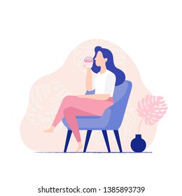 Young woman sitting in the chair and eating sweet cupcake. Woman eating muffin, side view. Beautiful flat vector illustration.