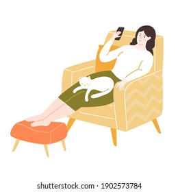 Young woman sitting in comfy yellow chair with footrest, using smartphone. Stay home concept. Girl with a white cat sleeping on her. Cozy room vector illustration