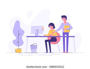 Young woman is sitting at a desk with computer and her boss is pointing to a screen and giving task. Office business concept. Modern vector illustration.