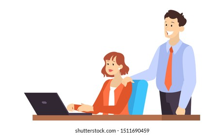 Young woman sitting at the desk and working on computer. Man standing at the worker. Office character. Vector illustration in cartoon style isolated