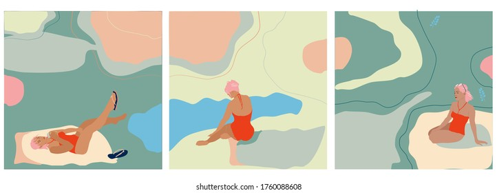 Young woman sitting and lying on the tropical beach shore in red swimsuit.Set of three hand drawn vector isolated trendy illustrations with abstract backgrounds.Pastel colors, minimalistic naive style