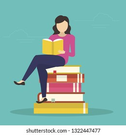 young woman sitting in many books and reading interesting book. Flat design for libraries, education and exam preparing - Vector illustration