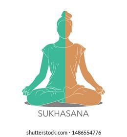 Young woman sitting in meditation or Sukhasana pose.