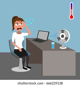 young woman sitting in office and sweating in hot weather with fan on her desk funny vector illustration