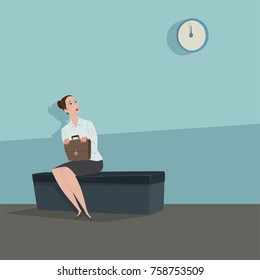 Young woman sitting on the chair looking the clock waiting for someone.