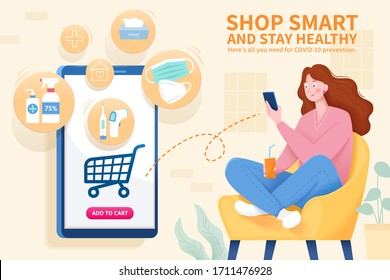 Young woman sitting on a cozy couch with smartphone and purchasing COVID-19 preventive products online, staying home can reduce the risk of coronavirus infection