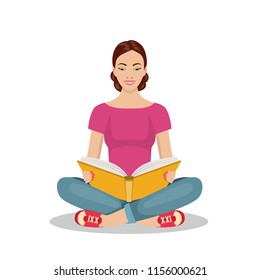 Young Woman Sitting on the floor and Reading Book . learning process concept Vector illustration in flat style