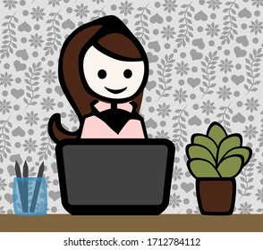 Young woman sitting on a notebook at a desk. The wallpaper in the background has a lovely pattern.