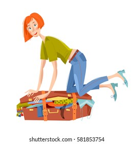 Young woman sitting on overflowed suitcase and trying to close it. Preparing for journey. Travel concept. Vector illustration.