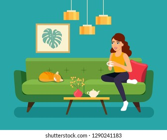 Young woman  sitting on sofa isolated. Vector flat style illustration