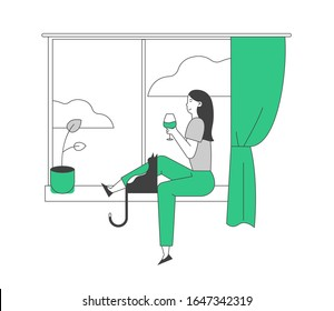 Young Woman Sitting on Windowsill with Cat Holding Glass and Drinking Wine Looking through Window. Weekend Home Relaxation, Leisure Spare Time, Girl with Pet. Cartoon Vector Illustration, Line Art