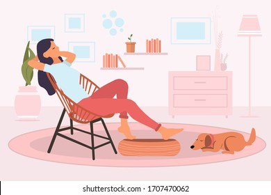 Young woman sitting and relaxing on a retro chair in her living room at home and cute dog sleeping on the floor next to a girl feet. Resting at home concept. Vector illustration flat style - Shutterstock ID 1707470062