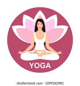 Young woman sitting in yoga lotus pose. Meditating girl illustration. Yoga woman, meditation, anti-stress people
