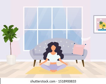 Young woman sitting in yoga posture and meditating. Meditation, relaxation at home.