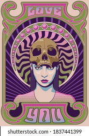 Young Woman and Skull 1960s Psychedelic Poster, Musical Album Cover Stylization