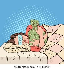 Young Woman Sleeping in Bed with Money Bag. Pop Art retro vector illustration