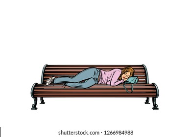 young woman sleeping on a bench. homeless. Pop art retro vector illustration kitsch vintage