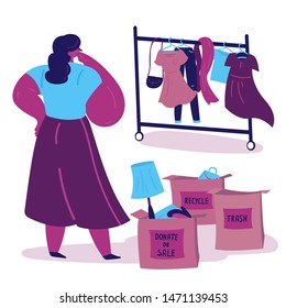 Young woman sorts clothes and things and thinks in what box to put them.Three boxes for sorting with inscriptions -donate,sale,trash.Minimalistic lifestyle concept.Conscious consumption.Illustration.
