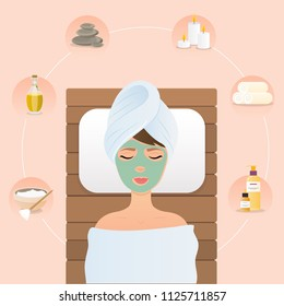Young woman in spa. Flat design style modern vector illustration concept.