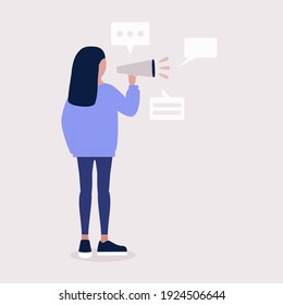 Young woman speaks into a megaphone. Statement, utterance, news concept. Colored vector illustration in flat cartoon style