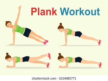 Young woman in sportwear doing planking exercise isolated. Plank workout. Vector flat style illustration