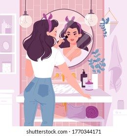 Young woman standing in front of a mirror applies makeup in bathroom. Flat cartoon vector illustration. Girls  daily morning routine. Modern bathroom interior with plants, shelves with care products