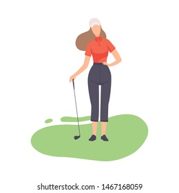 Young Woman Standing with Golf Club, Girl Golfer Player Playing on Course with Green Grass, Outdoor Sport or Hobby Vector Illustration