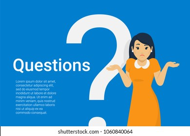 Young woman standing near big question symbol and she needs to ask help or advice via live chat, help desk or faq. Flat concept vector illustration of online support on blue background