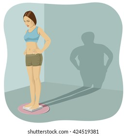 Young woman standing on bathroom scale with shadow shows her distorted body image