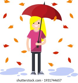 Young woman standing in the rain with umbrella. Fall of orange and red autumn leaves. Cartoon flat illustration. Protection from Bad windy weather
