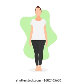Young woman standing and ready to do yoga. Gymnastic outfit white shirt. Healthy lifestyle concept. Workout training exercise. Female gym instructor - Flat design vector character illustration.