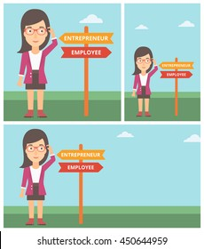 Young woman standing at road sign with two career pathways. Woman making a decision of her career pathway. Vector flat design illustration. Square, horizontal, vertical layouts.